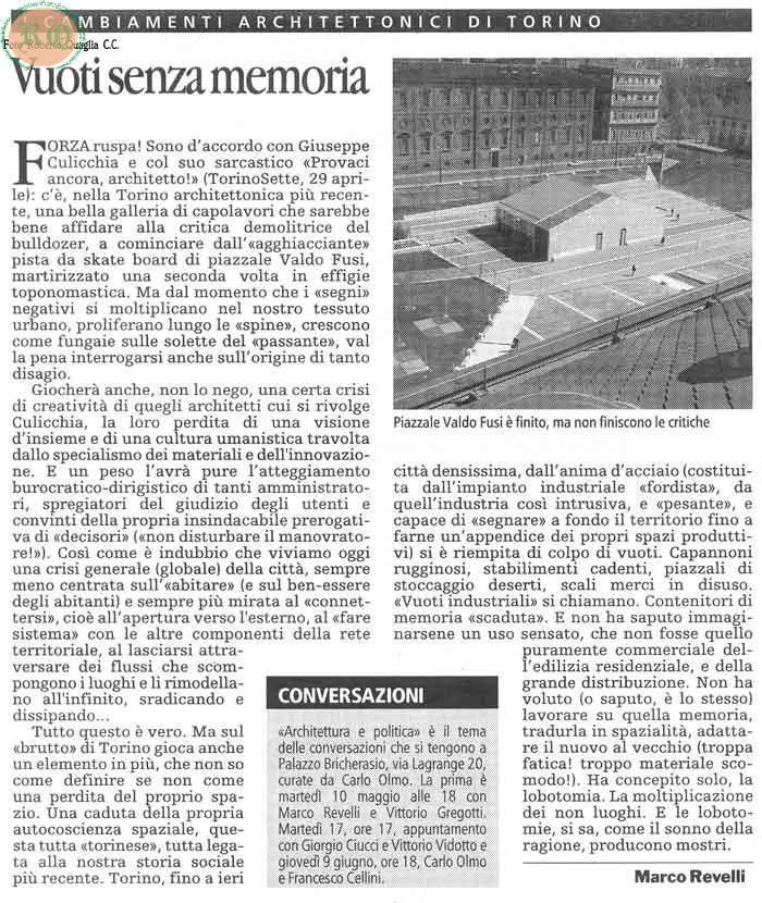 Articolo sulla piazza
